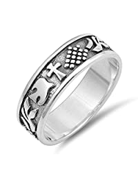 Cross Dove Pattern Ring Oxidize Sterling Silver 6mm Womens Christian Symbol Jewelry Sizes 5-12