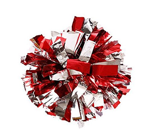 (erioctry 2 of Plastic Cheerleader Cheerleading Pom Poms Metallic Foil & Plastic Ring Pom Sports Party Costume Accessory Set Ball Dance Fancy Dress Night Party Sports Pompoms (Red+Silver))