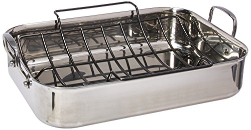 Anolon Tri-Ply Clad Stainless Steel 17-Inch by 12.5-Inch Large Rectangular Roaster with Nonstick Rack ()