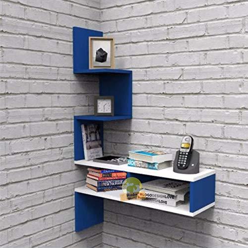 Wooden World Engineered Wood Big Zig Zag Corner Wall Shelves  Blue  amp; White, Painted Finish
