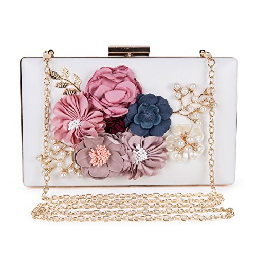 Women's New Evening Handbags Flower Clutch Pearl Bags Wedding Clutch Purse fit for Cocktail Wedding (White) by Baglamor
