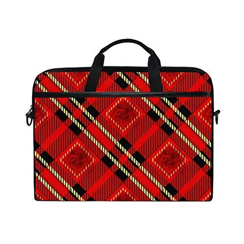 Laptop Bag for Men Women Red Black and Gold Rose Tartan Plaid Lighweight Canvas Shoulder Messenger Bag for 14-15 inch Notebook