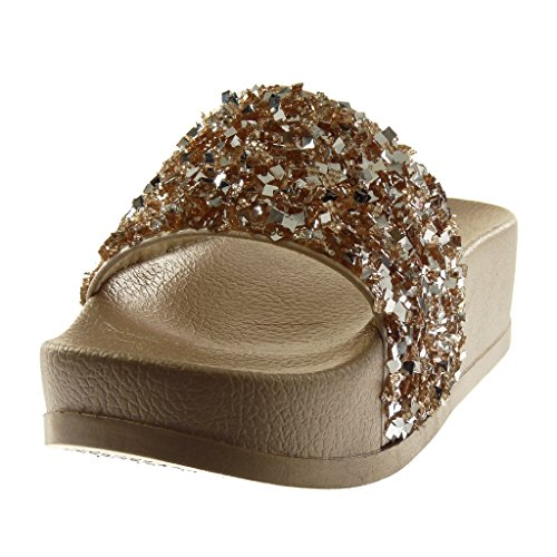 Angkorly Women's Fashion Shoes Mules Sandals - Slip-on - Tap - Platform - Rhinestone - Shiny Wedge Platform 4.5 cm Gold 2 XHiNnpOM0u
