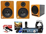Pair Rockville APM5C 5.25''250W Powered Studio Monitors+10'' Sub+Interface Bundle