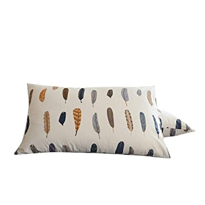 """BuLuTu Cotton Feather Print Bed Pillowcases Set of 2 Queen White Pillow Covers Decorative Standard for Kids Adults Envelope Closure End-Premium,Ultra Soft,Hypoallergenic,Breathable (2 Pieces,20""""×26""""): Home & Kitchen"""