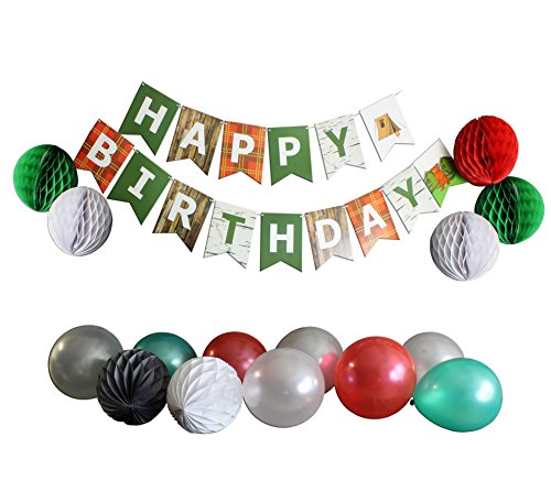 Boys' Camping & Outdoors Themed Children's Birthday Party Supplies Set w/ 8 Balloons, 8 Paper Pom Pom Balls, & Happy Birthday Banner Garland, Red & Green & Grey (Camping (green, (Outdoor Party Supplies)