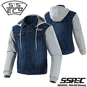 dcdcf66674368 SSPEC SSPEC オリジナルデザイン バイク用 デニム パーカー レーシング パッド ...