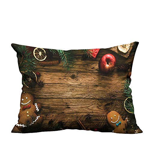 YouXianHome Zippered Pillow Covers Gingerbread Man Gift Box Image Pine Cinnamon Dessert on Rustic Wood Xmas Decorative Couch(Double-Sided Printing) 12x16 inch