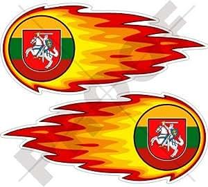 """LITUANIA Lituana Bola de Fuego Llameante 5"""" (125mm) Pegatinas de Vinilo Adhesivos, Stickers, Calcomanias x2"""