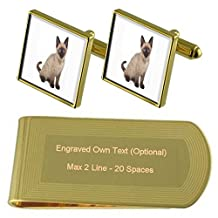 Siamese Kitten Cat Gold-tone Cufflinks Money Clip Engraved Gift Set