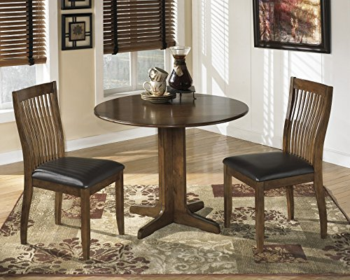 Stanman Medium Brown Round Drop Leaf Table W/ 2 Chairs