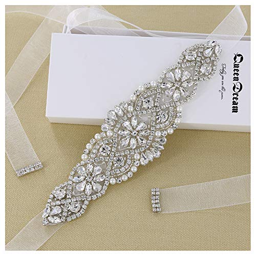 Clear Silver Crystal White Organza Ribbon for Wedding Party Prom Evening Dresses ()