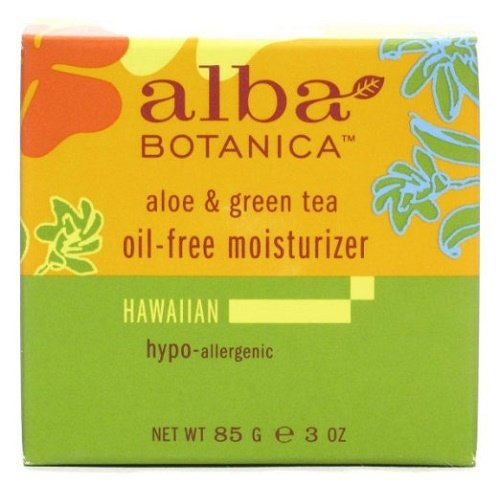 Alba Botanica Hawaiian Oil-Free Moisturizer, Refining Aloe & Green Tea, 3 Ounce (Oil Tea Moisturizer Free)