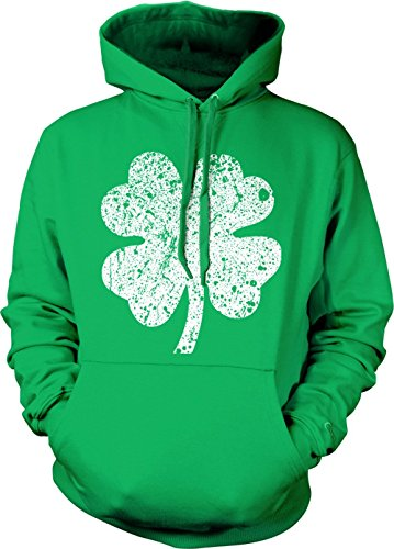 Distressed White Four Leaf Clover Adult Hoodie Sweatshirt (Kelly, (White Four Leaf Clover)