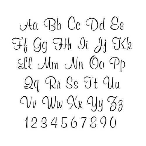 Letter and Number Stencil Set | 2 inch Script Font | 10 mil | Paint Stencils for Pavement and Wall Signs