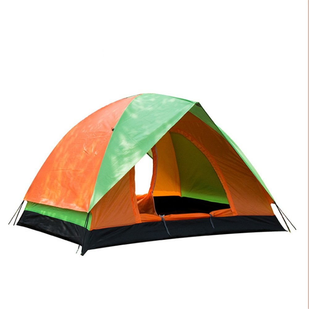 Outdoor Doppeltür Camping Camping Casual Regenzelt Markise grün + Orange