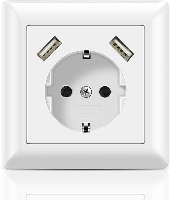 Schuko Enchufe con 2 puertos USB 2.8A Toma de pared USB Cabe en Caja Estándar Empotrada, Enchufe Superficie USB para Smartphone Tablet MP3, etc.: Amazon.es: Bricolaje y herramientas