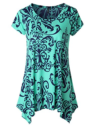 Zattcas Womens Short Sleeve Flare Tunic Tops Loose Fit Print Summer Tunic Shirt (Large, Multi Turquoise)