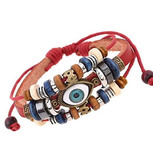 I's Vintage Adjustable Prayer Beads Leather Evil Eye Protect Symbol Handmade Bracelet (Evil Eye Red Leather)