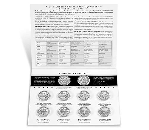 National Parks Issue - 2019 P, D BU National Park Quarter 10 Coin Set - Special Mint Issue Uncirculated