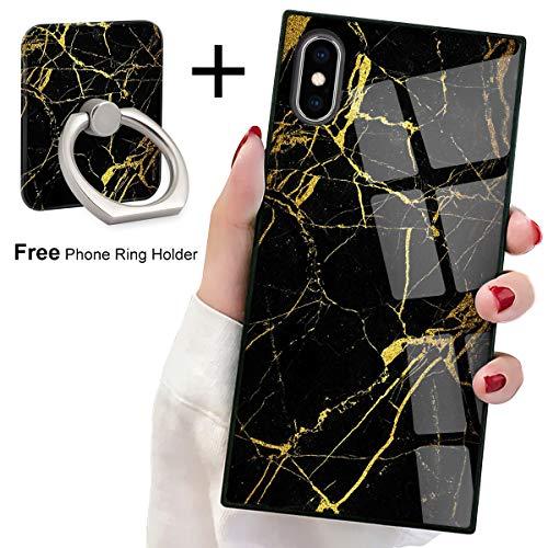 Black Gold Marble Square Phone Case iPhone Xs Max Retro Elegant Design Phone Cover Square Soft TPU Case for iPhone Xs Max