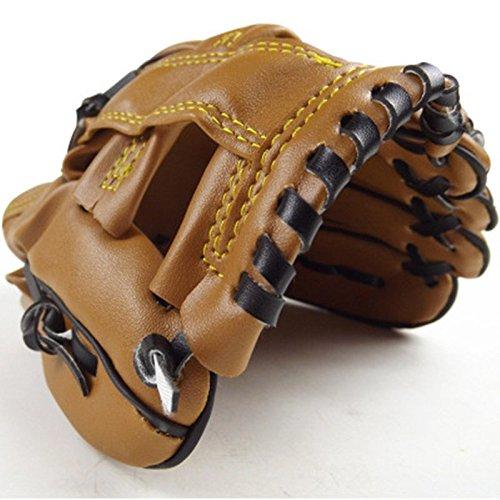 VT BigHome Outdoor Sports PU Brown Baseball Glove Softball Practice Equipment Size 9.5 Left Hand for Adult Man Woman Children Training
