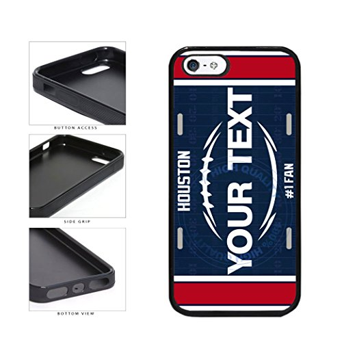 BleuReign(TM) Personalized Custom Name Football Houston License Plate TPU RUBBER SILICONE Phone Case Back Cover For Apple iPhone 5 5s and iPhone SE ()