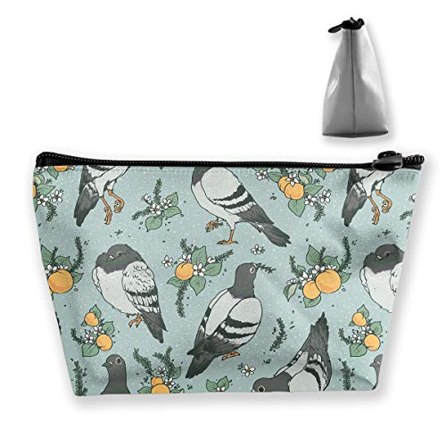 Makeup Bag Cosmetic Pigeon Fruit Leaf Portable Cosmetic Bag Mobile Trapezoidal Storage Bag Travel Bags with Zipper