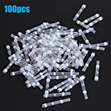 Qiilu 100Pcs Solder Seal Wire Connector, 26-24AWG Solder Seal Heat Shrink Butt Connectors Electrical Wire Terminals Marine Insulated Butt Splices