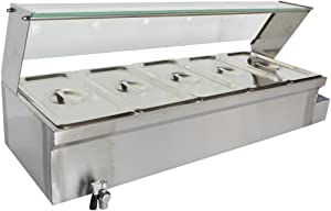 TECHTONGDA Food Soup Warmer Stove Bain Marie Commercial Canteen Buffet Steam Heater 12x5.5x6inch Pan with Glass Shield 5 Pan