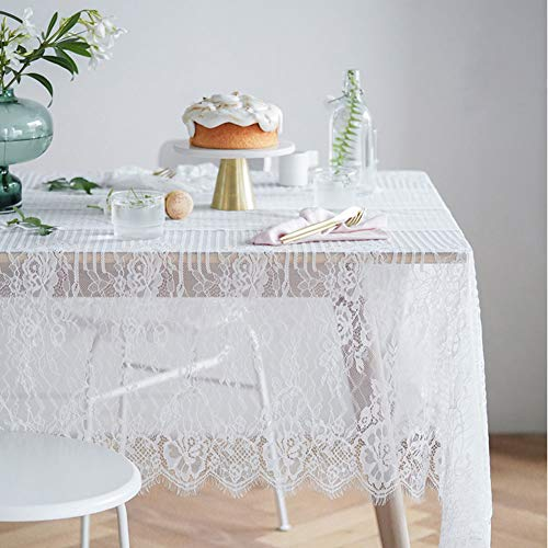ColorBird White Striped Rose Lace Tablecloth Decorative Embroidered Lace Overlay Table Cover for Wedding, Banquet, BridalShower, Baby Shower Party Decoration (Rectangle/Oblong, 60 x 120 inch) ()