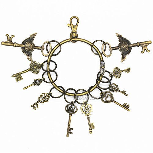 WEICHUAN Keychain / Key Holder / Key Ring / Key Hooks With 10PCS Antique Keys - Metal Antique Bronze Round Large Circular Ring Includes 10 Small Rings, Come With 10PCS - Keychain Vintage