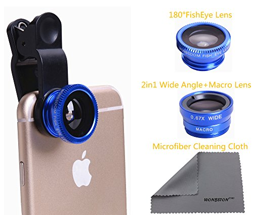 WONBSDOM 3 in 1 Universal Clips on Lenses Kit(Blue) with FishEye Lens+Macro+Wide Angle Lens +Microfiber Cleaning Cloth for iPhone 4S 5 5S 5C 6 itouch iPad Samsung Galaxy S3 S4 S5 Note 2/3/4 HTC Nokia Sony,etc.