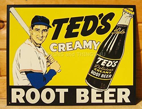 Tin Root Teds Beer Creamy - ShopForAllYou Vintage Decor Signs Ted's Creamy Root Beer TIN Sign Baseball VTG soda ad Metal Poster Wall Decor 51