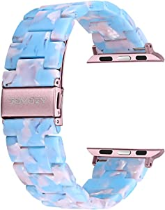 Joyozy Compatible with Apple Watch Bands 42mm 44mm, Resin Wristbands Replacement for iWatch SE& Series 6/5/4/3/2/1 for Women Men Gift Fashion Bracelet- (42mm/44mm, Sky Blue)