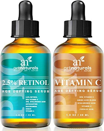 Art Naturals Organic 20% Vitamin C Serum 1.0 oz & 2.5% Vitamin A (Retinol) Serum 1.0 oz - Holiday Gift Set - Best Anti Wrinkle & Dark Circle Remover (Morning & Night Anti Aging Therapy)