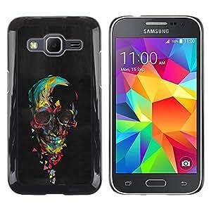 Be Good Phone Accessory // Dura Cáscara cubierta Protectora Caso Carcasa Funda de Protección para Samsung Galaxy Core Prime SM-G360 // Watercolor Skull Oil Painting Black