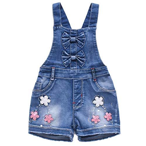 YAO Summer Little Girls Cotton Flower Denim Bib Braces Rompers(5T)