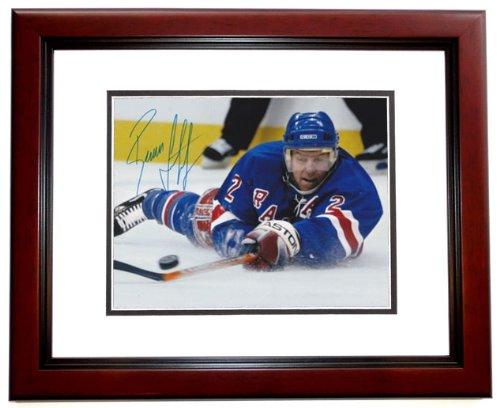 Brian Leetch Signed 8x10 Photo - Brian Leetch Signed - Autographed New York Rangers 8x10 inch Photo MAHOGANY CUSTOM FRAME - Guaranteed to pass PSA or JSA
