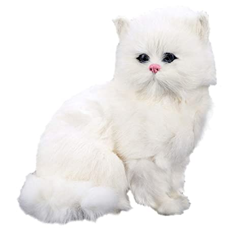 3cf5922078ea Image Unavailable. Image not available for. Color: sd finger Realistic Cute  Simulation Stuffed Plush White Persian Cats Toys ...