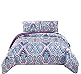 Purple and White Quilt Cover Fancy Linen 3pc King/California King Bedspread Quilt Set Over Size Bed Cover Purple Lavender Blue Grey White New
