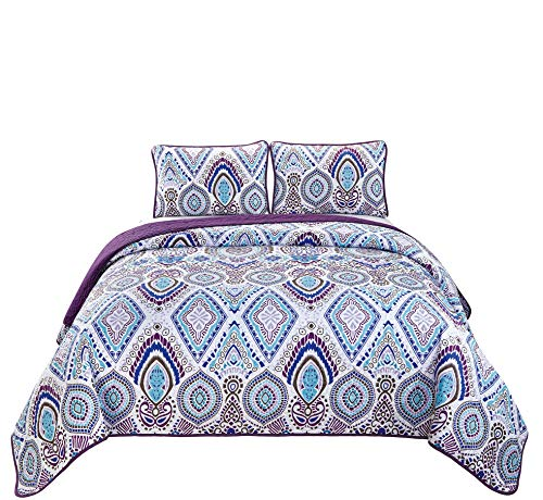 Mk Home 3pc Full/Queen Oversized Quilted Bedspread Coverlet Set Medallion Pattern White Purple Blue New -