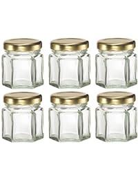 Gain 12 Hexagon Glass Jars- with lids- for Candles, Honey, etc. 1-1/2 oz (1.5 oz) saleoff