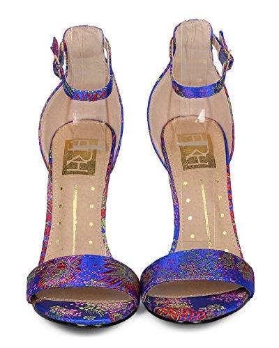 Sandalo Alrisco Donna Con Tacco Largo Di Blocco - Cinturino Alla Caviglia Con Tacco Lucite - Tallone Tacco Pesante Formale Elegante Da Cerimonia - Hd97 By Fahrenheit Collection Blue