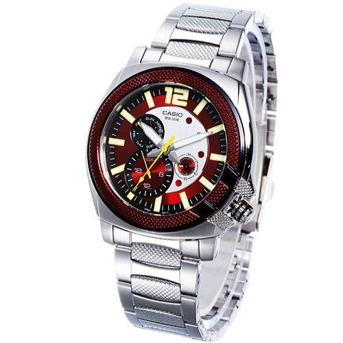 Red Dial Stainless (Casio Men's MTP1316D-4AV Silver Stainless-Steel Quartz Watch with Red Dial)