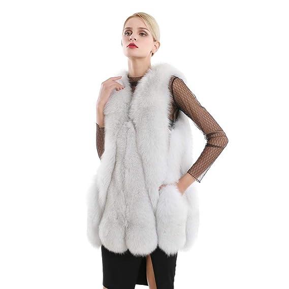 Chaleco de Piel de Zorro de Invierno para Mujer Abrigo sin Mangas cálido Chalt Completo Chaleco