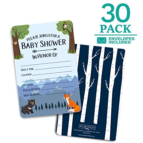 Baby Shower Invitations - 30 cards + envelopes. Gender neutral for boy or girl. Match baby shower games, decorations & favors. Perfect invites for showers, sprinkles or gender reveal party. (Woodland) ()