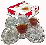 Cup & Saucer Set Glass Tea Coffee Cup Glass Saucer 12 Piece Cup & Saucer Set