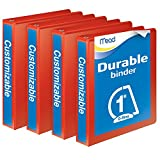 Mead Durable D-Ring View Binder, 4 unidades), Rojo, 2.54cm (1'')