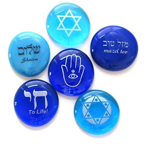 Bar Mitzvah Star - Judaica Glass Stones: Chai, Star of David, Hamsa, Mazel Tov and Shalom on Shades of Blue, Set of Six, by Lifeforce Glass